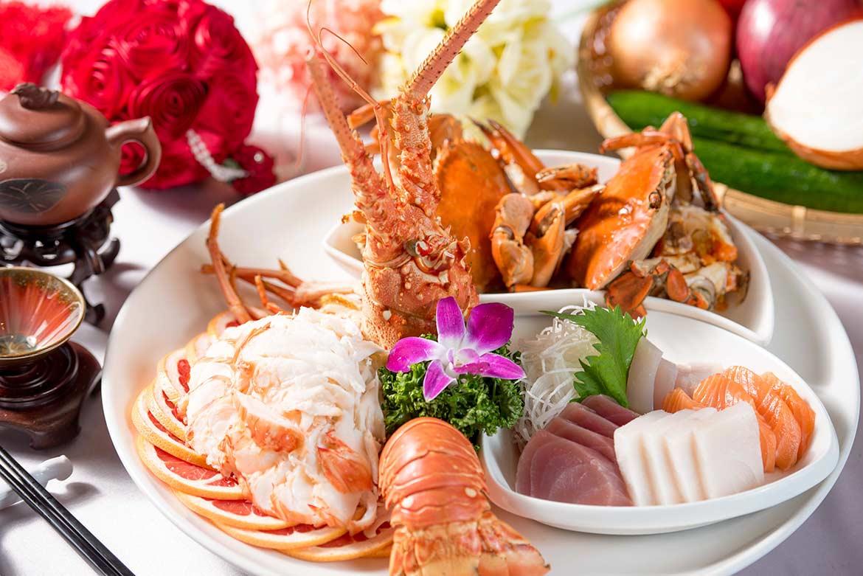 沙拉龍蝦.白灼紅蟳.綜合生片