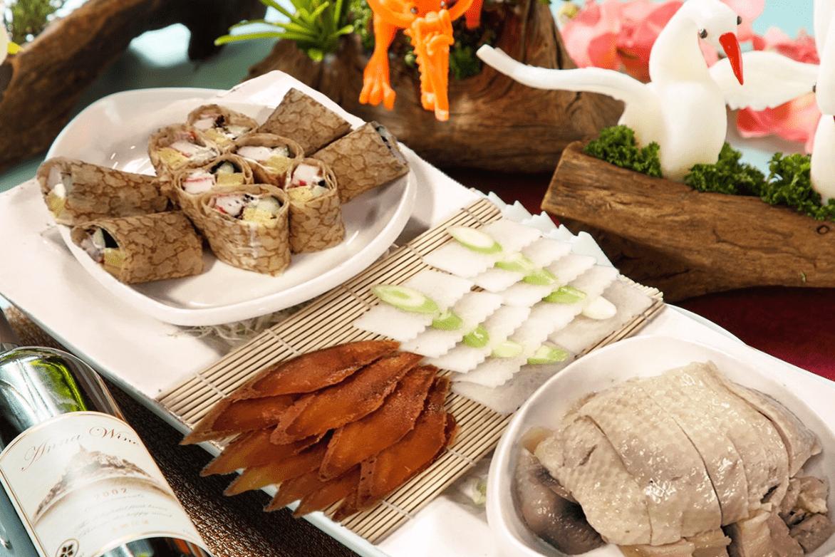 烏魚子/彩蔬蟹味捲/鹽焗土雞